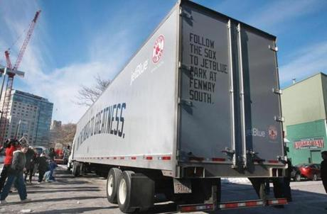 A sure sign that spring isn't far off, the truck carrying Red Sox equipment departs for Fort Myers, Fla.